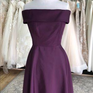 Dark Purple Off-Shoulder High Low Size 10